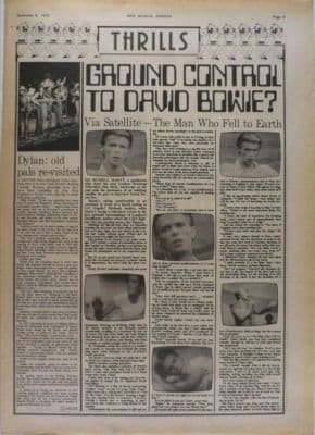 David Bowie Ground control to..Russell Harty Interview original Vintage Music Press article 1975