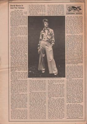 David Bowie Is just not serious original Vintage Music Press article 1972