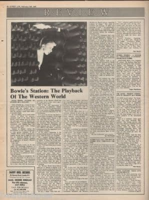 David Bowie Station to Station 1976 Press Vintage Music Press article LP Review