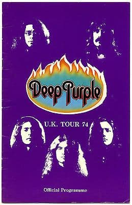Deep Purple UK Tour 1974 programme supported by Elf with Ronnie James Dio