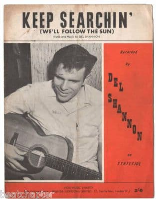 DEL SHANNON Keep Searchin' Vintage Sheet Music