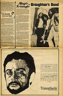 Edgar Broughton Band LENNY BRUCE Press article/cutting/clipping 1969