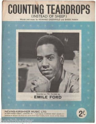 EMILE FORD Counting Teardrops Vintage Sheet Music