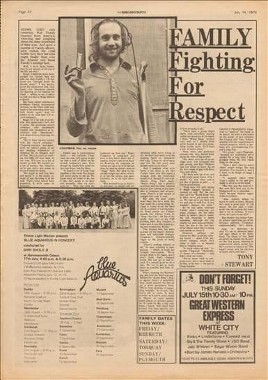 Family Fighting for respect Music Press Article cutting/clipping 1973