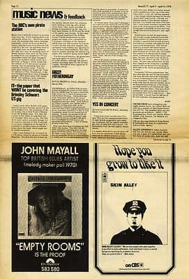 FOTHERINGAY & YES Live review SKIN ALLEY Ad Press article/cutting/clipping 1970