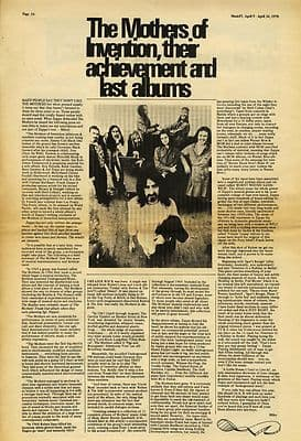 Frank Zappa MOTHERS Achievement Press article/cutting/clipping 1970