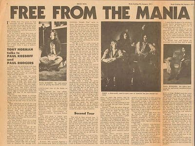 Free Paul Kossoff Paul Rodgers Interview Vintage Music Press article 1971
