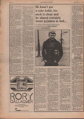 GENE PITNEY Full page Interview by Tony Stewart original Vintage Music Press article 1975