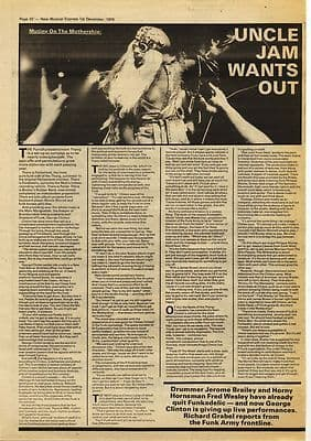 GEORGE CLINTON FUNKADELIC 2 page Press article/cutting/clipping 1979