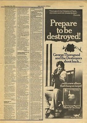 GEORGE THOROGOOD LP Review & Advert article press cutting/clipping 1978
