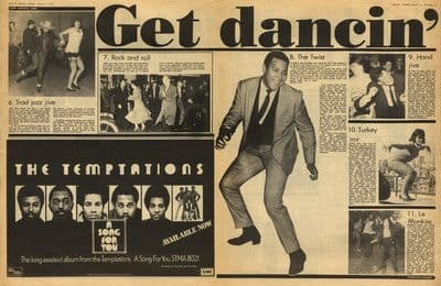 GET DANCING Jitterbug to The Shake 4 page press article/cutting/clipping 1975