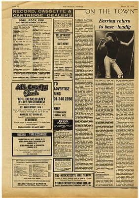 Golden Earring Amsterdam Live Review Music Press article/cutting/clipping 1975