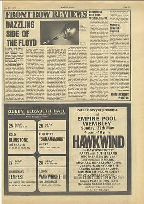 Hawkwind Empire Pool Vintage Music Press advert clipping 1973