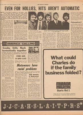 Hollies Hits aren't automatic Interview Vintage Music Press article 1969