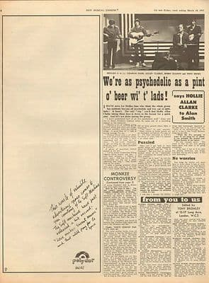 Hollies Psychedelic as pint o' beer Soft Machine Press Vintage Music Press article 1967