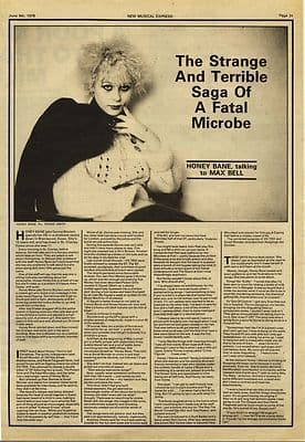 HONEY BANE Interview FATAL MICROBES press article/cutting/clipping 1979