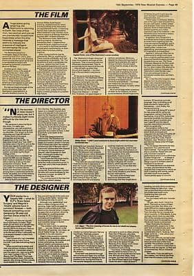 HR GIGER ALIEN Special 2 page music press article/cutting/clipping 1979