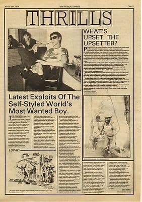 Iggy Pop Exploits LEE PERRY Upsetter Press article/cutting/clipping 1979