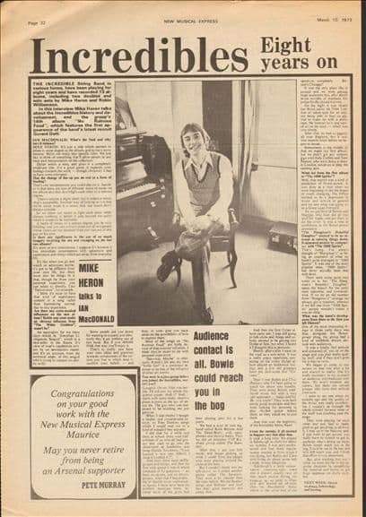 Incredible String Band Mike Heron Article cutting/clipping 1973