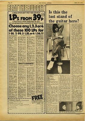 Jeff Beck Blow by Blow LP Review Music Press article/cutting/clipping 1975