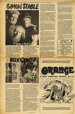 Jeff Beck Truth Jethro Tull Simon Stable Press article/cutting/clipping 1968