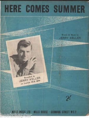 JERRY KELLER Here comes summer Vintage Sheet Music