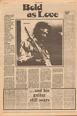 Jimi Hendrix Bold as Love. Full page Vintage Music Press article 1973