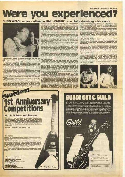 Jimi Hendrix Chris Welch Tribute article cutting/clipping 1980