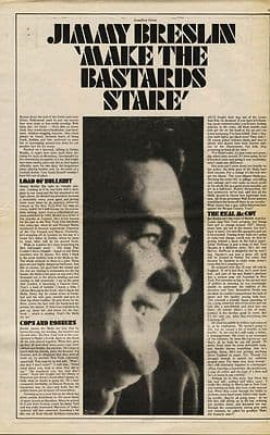 JIMMY BRESLIN Make the Bastards stare press article/cutting/clipping 1970