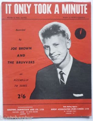 JOE BROWN It only took a minute Rare Vintage Sheet Music