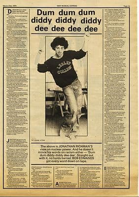 JONATHAN RICHMAN Interview Press article/cutting/clipping 1979