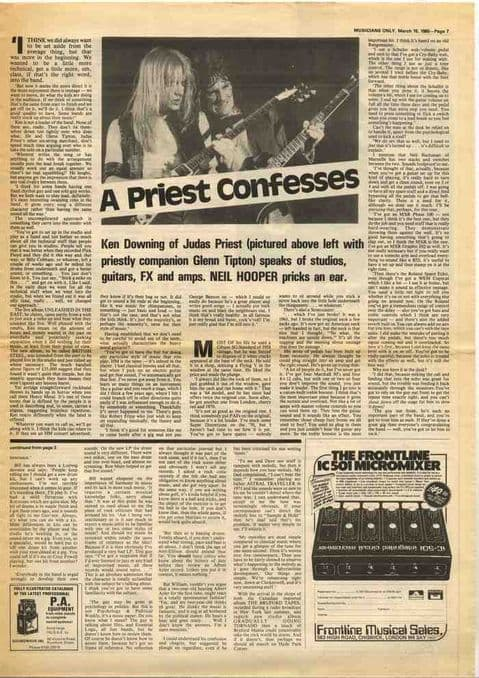 Judas Priest/KEN DOWNING Interview UK music press article cutting/clipping 1980