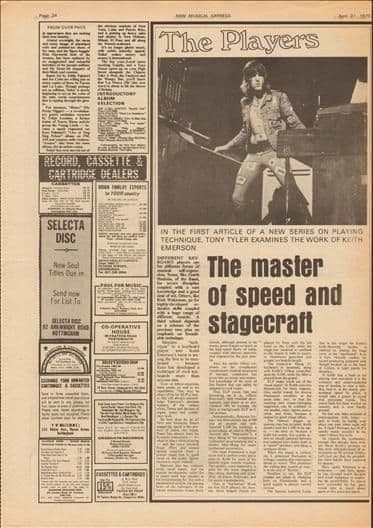 KEITH EMERSON ELP Music Press Article cutting/clipping 1973