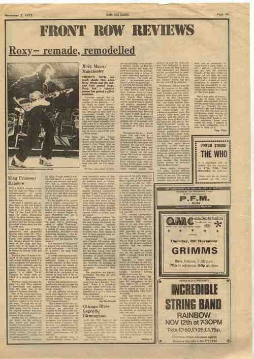 King Crimson Rainbow Roxy Music Free Trade Hall articles/review cutting/clipping