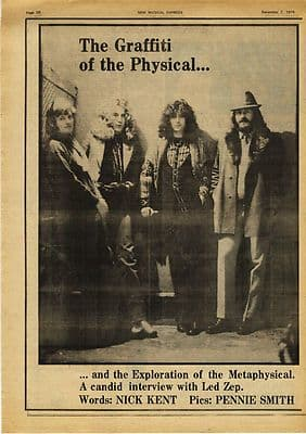 Led Zeppelin Full page Interview & pic Music Press article/cutting/clipping 1974