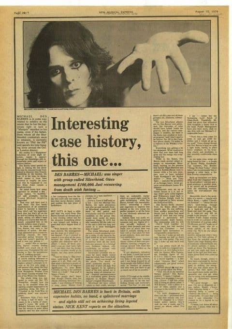 MICHAEL DES BARRES Interview article press cutting/clipping 1974