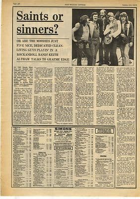 Moody Blues Graeme Edge Interview press article/cutting/clipping 1973
