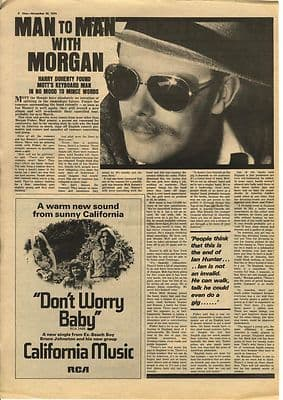 Mott The Hoople MORGAN FISHER Interview Music Press article/clipping 1974