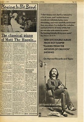 Mott The Hoople MORGAN FISHER ROY HARPER Press article/cutting/clipping 1974