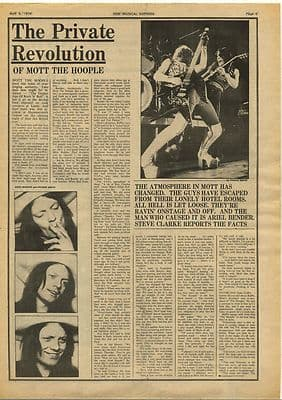 Mott The Hoople Private Revolution Interview Vintage Music Press Article 1974