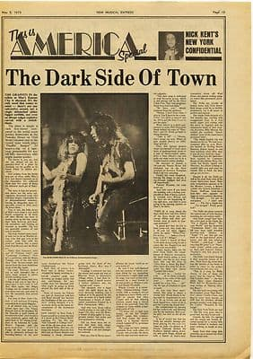 NICK KENT in NEW YORK music press article/cutting/clipping 1973