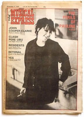 NME  Magazine 11 November 1978 The Clash The Residents Pere Ubu John Cooper ClarkePenetration