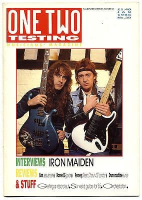 One Two Testing Magazine January 1986 Iron Maiden Steve Harris Adrian Smith