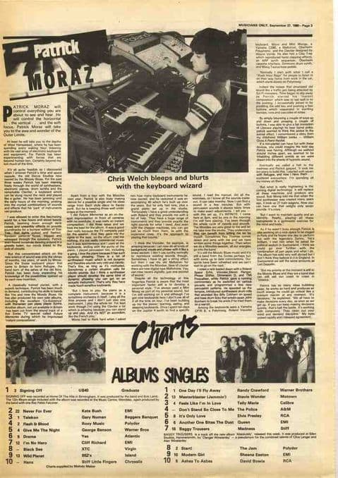 PATRICK MORAZ Chris Welch Interview article cutting/clipping 1980