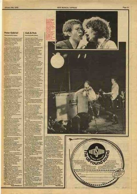 Peter Gabriel Hammersmith Odeon live review article cutting/clipping 1979