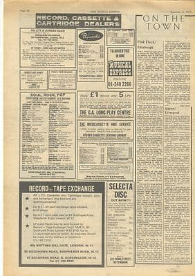 Pink Floyd Queen Live review Vintage Music Press article/cutting/clipping 1974
