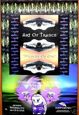Platipus records Psychedelic Goa Art of Trance Wildlife on One LP & CD promo poster from 1996