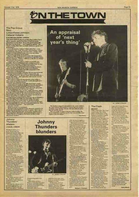 POP GROUP NICO CABARET VOLTAIRE JOHNNY THUNDERS article cutting/clipping 1978