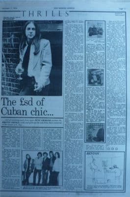 Pretty Things The sd of cuban chic original Vintage Music Press article 1974