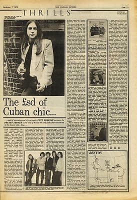 Pretty Things The sd of cuban chic music press article/cutting/clipping 1974
